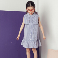 儿童裙子女夏2018新款韩版女童小清新条纹衬衫无袖连衣裙中大童装
