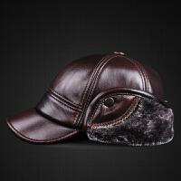 真皮帽子男士冬季头层牛皮帽中老年人户外护耳加绒保暖防寒平顶帽