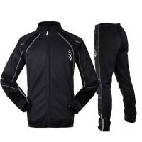 秋冬季骑行服套装长袖男抓绒保暖防风骑行裤长裤新品 战士套装--黑色