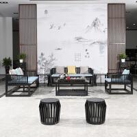禅意新中式实木沙发组合客厅后现代双人布艺沙发别墅酒店家具定制 组合