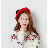 韩版 羊毛呢森女贝雷帽秋冬  新款兔毛球网眼画家帽 面纱帽 网纱帽