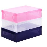 星空夏日 透明水晶塑料鞋盒短靴盒 蓝色款2只装