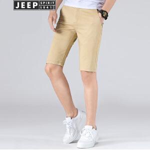 JEEP吉普弹力短裤男2018夏装新品修身弹力休闲五分裤舒适莫代尔棉薄款中裤子