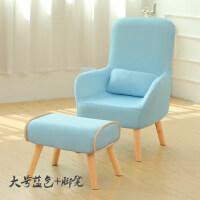 20190709061854972单人沙发哺乳椅孕妇喂奶椅叠懒人椅迷你小沙发休闲靠背椅 大号 天蓝+脚凳