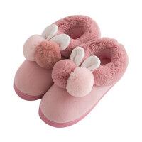 韩版家居家可爱毛毛室内全包跟棉鞋棉拖鞋女保暖厚底月子鞋
