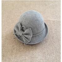 蝴蝶结小圆帽 卷边帽渔夫帽毡帽蝴蝶结盆圆顶礼帽 羊毛呢盆帽