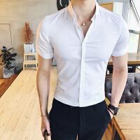 夏季色短袖衬衫男韩版2018新款修身型男士发型师衬衣白色打底衫
