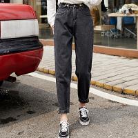 牛仔裤 女士休闲九分裤2020冬季新款复古港风女式宽松哈伦裤学生大码女装裤子