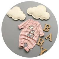 婴儿连体衣纯棉男女宝宝卡通开衫哈衣可开裆外出服0-3-6-9个月潮