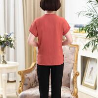 中老年女夏装短袖上衣七分休闲裤两件套妈妈T恤中年薄款运动套装
