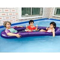 儿童水上漂流大充气茄子浮排海上浮床网格游泳圈玩具用品坐骑