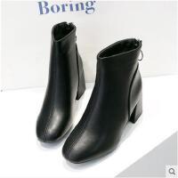 秋冬季新款英伦风马丁靴女高跟皮靴子百搭韩版女士粗跟小短靴