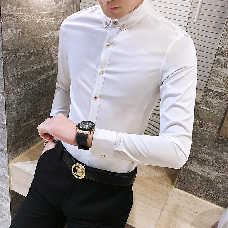 2017男士衬衫纯色休闲长袖衬衫男韩版修身青年时尚潮流商务衬衣23 发货周期:一般在付款后2-90天左右发货,具体发货时间请以与客服协商的时间为准