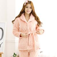 雪俐睡衣女冬夹棉棉袄加厚睡衣女士长袖大翻领纯色套装两色可选