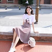 【超值两件套装】纯棉T恤+半身裙子女夏2018新款冷淡风连衣裙小清新格子套装裙两件套