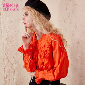 妖精的口袋复古小调秋装新款宽松灯笼袖拼接纯色衬衫女