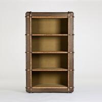 奇居良品 美式家具牛皮拼接卡其色防水麻质书房开放式书柜