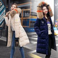 2018冬季新款韩版连帽彩色大毛领金丝绒棉衣女中长款羽绒棉服外套