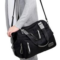 防水尼龙男士单肩包大容量斜挎包休闲旅行手提包牛津布帆布大包包SN4620 款式一黑色 宽40高28厚16cm