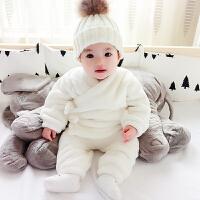 秋冬季儿童加绒加厚法兰绒睡衣男童女童小孩宝宝长袖家居服套装