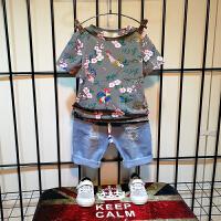 男童套装夏装潮儿童夏季洋气短袖短裤恐龙两件套宝宝童装