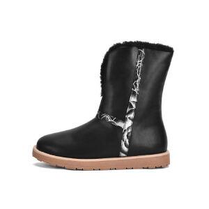 O'SHELL法国欧希尔新品176-F813韩版超纤皮平底鞋女士短靴雪地靴