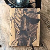新款复古男士钱包 简约竖款学生男皮夹潮 个性卡通动漫多功能卡包 进击的巨人竖款(棕色)