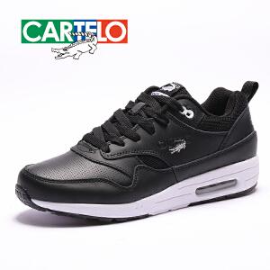 卡帝乐鳄鱼冬季新款气垫鞋男鞋皮面运动鞋跑步鞋男鞋
