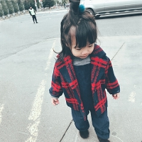 史豌豆女童加厚外套秋装儿童冬装毛呢格子大衣女宝宝童装外衣