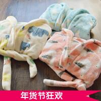 自留柔软~女童浴袍 2017冬装新款儿童韩版保暖法兰绒中长款家居服