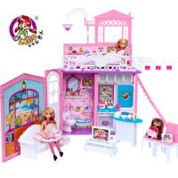 乐吉儿芭比娃娃礼盒玩具 芭比公主系列 梦幻甜甜屋 女孩过家家 六一儿童节 生日礼物 可儿公主女孩玩具套装大礼盒H36A