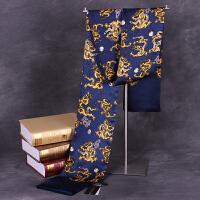 商务真丝围巾丝绸男士领巾长款桑蚕丝丝巾双面潮欧美春夏季