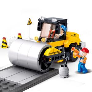【当当自营】小鲁班工程系列儿童益智拼装积木玩具 单钢轮压路车M38-B0539