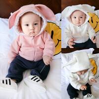婴儿衣服装0岁3个月6宝宝上衣8新生儿小童加绒外套季冬装