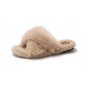 ELEISE美国艾蕾莎新品秋冬182-HF9韩版兔毛平跟女士真兔毛拖鞋