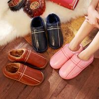 防水棉拖鞋大码男女士室内防滑居家居厚底pu皮冬季保暖皮拖鞋冬天