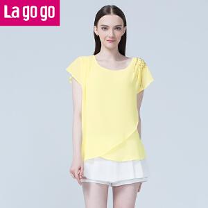 lagogo拉谷谷夏季新款钉珠纯色不规则下摆上衣