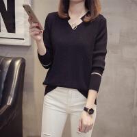 秋季打底针织衫女2018新款 韩版长袖修身显瘦V领套头时尚短款毛衣