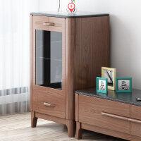 北欧实木电视柜茶几组合现代简约地柜电视柜组合墙客厅家具套装 大斗柜(火烧石面) 整装