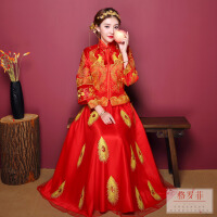 新娘中式礼服秀禾服新娘礼服嫁衣敬酒服古代秀和服绣禾服2018新款