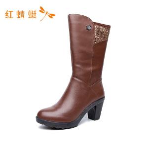 红蜻蜓圆头粗高跟舒适纯色简约时尚女靴子