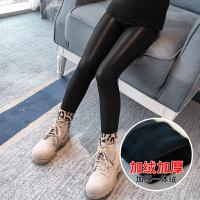 加绒秋冬新款韩版儿童冬季打底裤小女孩外穿裤子女童皮裤