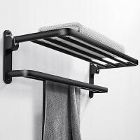 北欧毛巾架免打孔太空铝卫生间浴室置物架厕所黑色浴巾挂架子壁挂