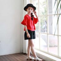 韩国童装夏装女童短袖t恤中大童圆领纯棉喇叭袖宽松红色上衣夏季