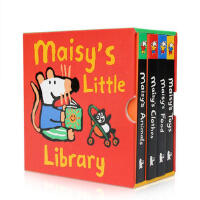 Maisy is Little Library 小鼠波波-梅西的小小图书馆 4本纸板书 Lucy Cousins 幼儿启蒙认知英文原版亲子读物绘本 Animals Food Toys Clothes