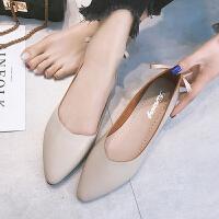 春季单鞋尖头平底鞋女瓢鞋浅口女鞋工作鞋女豆豆鞋潮