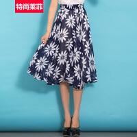 特尚莱菲 夏季新款雪纺半身裙松紧印花中长裙半截A字女裙子 BHF8471
