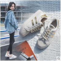 小白鞋女新款秋冬季百搭韩版贝壳头学生平底加绒保暖港风棉鞋