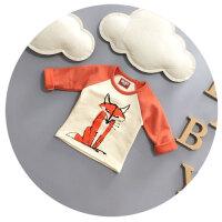 婴儿秋季衣服宝宝长袖T恤纯棉男童卡通圆领打底衫加绒加厚1-2岁潮
