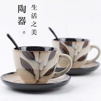 咖啡杯套装欧式简约咖啡杯个性陶瓷杯子带碟勺大容量水杯马克杯